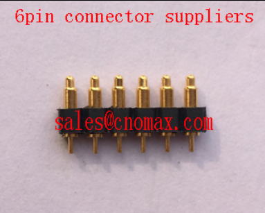 10 0mm 6pin pogo pin connector pet tracker battery brass right angle